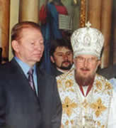 The Most Reverend Father in God Nikodim and the president of Ukraine L.D.Kuchma